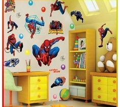 Spiderman Wall Stickers With Decor Decal Art For Kids Nursery Bedroom. Spiderman wall stickersCome in 1 packPack 1: 50cm x 70cm Material: Pvc (Barcode EAN = 0608665565119). http://www.comparestoreprices.co.uk//spiderman-wall-stickers-with-decor-decal-art-for-kids-nursery-bedroom-.asp