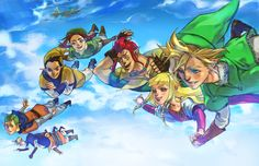 Link, Zelda, Groose, Karane, Pipit, Fledge, Cawlin and Strich falling in The Sky.