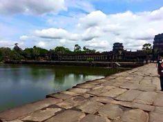 The magnificent  bridge and lake of Angkor Wat. Cambodia Trip 2013