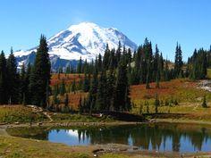 Tipsoo Lake Reflects Mt. Rainier, Washington, USA...