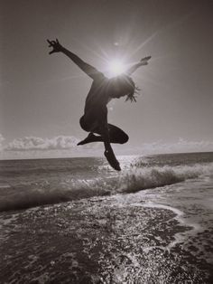 Silhouette of Dancer Jumping Over Atlantic Ocean Photographic Print by Robin Hill at AllPosters.com