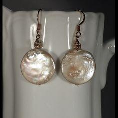 15mm Coin Pearls Earrings. 15mm Pearl Earrings  Gold filled earwire. Jewelry Earrings
