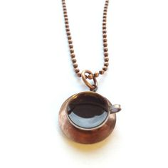 Fab.com | Cup Of Joe Necklace. I need on of those so I always have coffee with me!