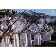 Saudi men from Bilqarn, Asir, Saudi Arabia in celebration
