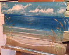 Ocean beach scape pallet art sign nautical by SoulSisterPalletShop