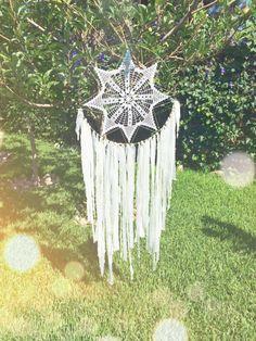 White & Gold Crochet Doily Fabric Dreamcatcher