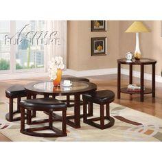 pattia 5pc coffee table with ottomans