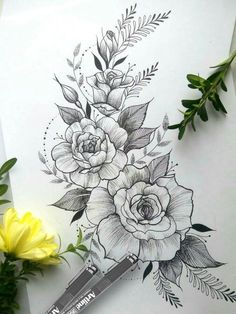 40 Easy Flower Pencil Drawings For Inspiration - Tattoos - Tatuajes Beautiful Flower Drawings, Pencil Drawings Of Flowers, Flower Tattoo Drawings, Flower Tattoo Designs, Tattoo Sketches, Beautiful Tattoos, Drawing Flowers, Rose Drawings, Rose Drawing Tattoo