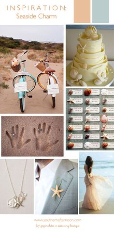Seaside Charm Wedding Inspiration Pinboard by paperwhites, a stationery boutique. What great ideas for a beach wedding! Check out the blog at southernafternoon.com