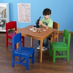The Kidkraft Wooden Nantucket Honey Table And 4 Chair Set Is A Great Place For Coloring Board Games Crafts 1 Colored With Wainscoting