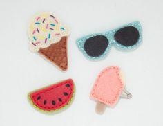 Summer Hair clip set of 4 size Mini: Ice cream by OneLittleHippo