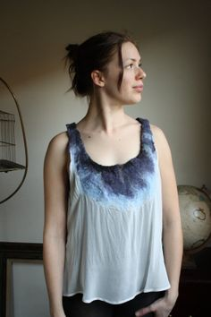 Felted Wool and Silk Chiffon Blouse by postscriptapparel on Etsy, $50.00