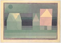 Three Houses  Artist: Paul Klee (German (born Switzerland), Münchenbuchsee 1879–1940 Muralto-Locarno) Date: 1922 Medium: Watercolor on paper, bordered with watercolor, mounted on cardboard Dimensions: 7 7/8 x 11 7/8 in. (20 x 30.2 cm) Classification: Drawings Credit Line: The Berggruen Klee Collection, 1984 Accession Number: 1984.315.30