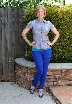 Cobalt + aqua + stripes #outfit