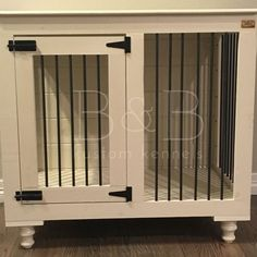 After being tired of our ugly wire dog kennel made of plastic, we've created indoor dog crate furniture that is the perfect rustic indoor dog crate! Wire Dog Kennel, Room Under Stairs, Dog Crate Furniture, Dog Rooms, Pet Mat, Dog Houses, Unique Photo, Dog Accessories, Doge