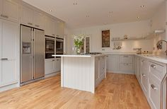 Pared down country style meets modern with a stylishly hand made kitchen complete with the latest kitchen gadgets. Kitchen Units, Open Plan Kitchen, Kitchen Shelves, New Kitchen, Kitchen Decor, Kitchen Ideas, Grey Shaker Kitchen, Wall Cupboards, Window Shelves