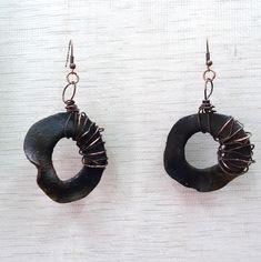 Polymer Clay earrings, Black earrings, Copper, Circle earrings, Boho earrings, Exotic earrings, Handmade earrings, one of a kind, OOAK,