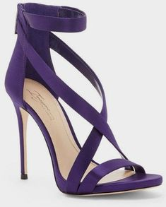 Imagine Vince Camuto 'Devin' Sandal in Purple. An alluring strappy sandal is given a daring lift by an ultra-slender stiletto heel. An ankle strap flatters and lengthens the leg, while a back zip closure finishes the look with an edgy touch. Pretty Shoes, Beautiful Shoes, Cute Shoes, Me Too Shoes, Bobbies Shoes, Shoe Boots, Shoes Heels, Dress Shoes, Dress Outfits