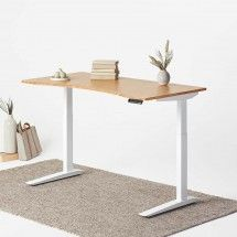 Jarvis Bamboo Adjustable Standing Desk in White