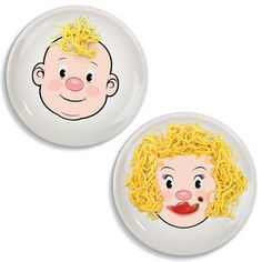 Silly face plates. Stop playing with your food!