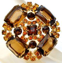Amber & Topaz Rhinestone Brooch Pin Vintage