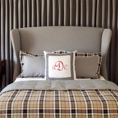 Masculine bedroom designed by Tobi Fairley: pillow monogram, plaid, upholstered headboard. Already have the upholstered headboard. Need to make a coverlet from the plaid fabric in my den. Preppy Bedroom, Home Bedroom, Plaid Bedroom, Bedroom Wardrobe, Guy Bedroom, Master Bedroom, Teen Bedroom, Wingback Headboard, Upholstered Beds
