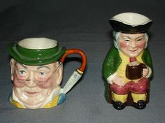 Sylvac Staffordshire England Character Jugs Old Toby #4406 Mr. Pickwick #4433