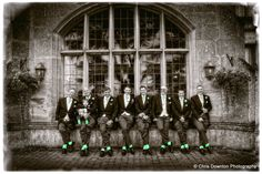 Spot colour effect expertly applied by Chris Downton to highlight the socks and cravats of the groom and his ushers.