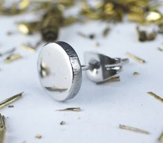 Mens Earrings – Silver Round Button 14mm Stud Earring Men Women – a unique product by mailtown on DaWanda