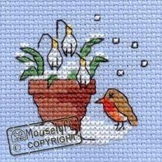 Stitchlets Christmas Card Cross Stitch Kit - Robin & Snowdrops