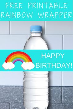 Use this free printable rainbow water bottle label to help decorate your rainbow birthday party. It is a cheap and easy way to make your water bottle pretty and also a good rainbow food table idea for you. Simply cut and print to make a rainbow birthday party diy. Be sure to save this rainbow water bottle wrapper for later! Take a look at our blog, VanahLynn.com to see bumble bee birthday cakes and strawberry smash cake ideas.