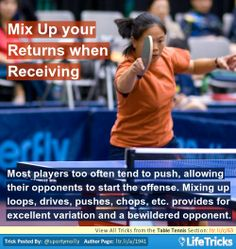 Table Tennis - Mix Up your Returns when Receiving