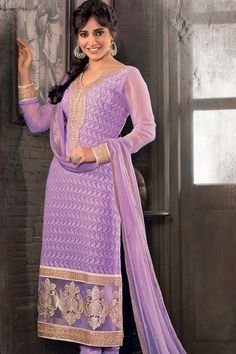 Pink lavender colour come with combination of Zari work will gives Royal look....