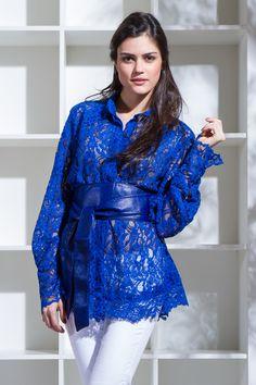 Camisa em Renda Azul Royal Mine