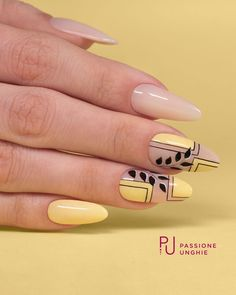 Yellow and nude leaf geometric nail art design for Spring summer.💛🎯💛 - Yellow and nude leaf geometric nail art design for Spring summer.💛🎯💛 Yellow and nude leaf geometric nail art design for Spring summer. Spring Nail Art, Spring Nails, Summer Nails, Yellow Nails Design, Yellow Nail Art, Nail Selection, Geometric Nail Art, Nagel Gel, Cute Nail Designs
