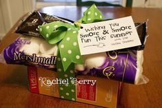 End of school year - Teacher gifts. Making s'mores math card with wishes for s'more summer fun and wrapping up ingredients with a bow.