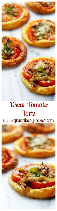 Insanely Delicious Cheesy Tomato Tarts with Caramelized Onions- perfect for entertaining! ~ http://www.grandbaby-cakes.com