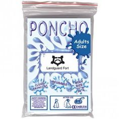 Disposable Adult Poncho :: Travel and Leisure :: Pebble Promotions :: Clear disposable poncho in clear poly bag with digitally printed card insert. Poncho not printed directly.  Product Code: 17978  Disposable Adult Poncho Colours: clear