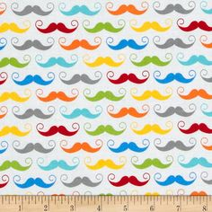 Riley Blake Geekly Chic Mustache White from @fabricdotcom  Designed by Amy Adams for Riley Blake, this cotton print is perfect for quilting, apparel and home décor accents.  Colors include white, red, yellow, green and shades of blue.