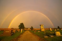 Peacefull by Colt Forney - Double rainbow at the Denton, KS cemetery cause from the remnants of Hurricane Isaac.  Click on the image to enlarge.
