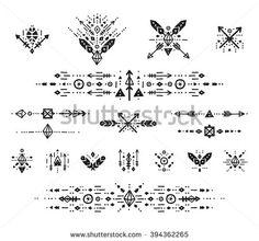 Hand drawn boho patterns with stroke, line, arrow, decorative elements, feathers, geometric symbols Aztec style. Flash Tattoo, tribal pattern, boho logo