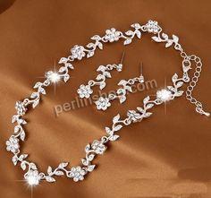 Braut Schmucksets, Zinklegierung, Ohrring & Halskette, mit Messingkette, Edelstahl Stecker, mit Verlängerungskettchen von 5cm, Blume, silber...