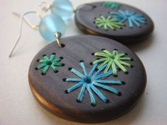 FIREWORKS---Hydrangea Flowers Retro Embroidered Wood Earrings.