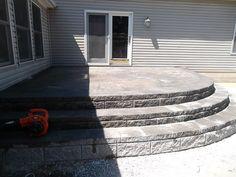 Raised Brick Paver Patio/ Allan Block Steps