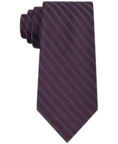 Calvin Klein Men's Graphite Glitter Stripe Slim Tie