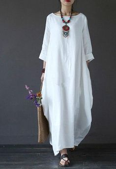05b9d2dbd71  IASK  2018 Summer Plus Size Dresses Women 4xl 5xl Loose Cotton Linen Dress  O-neck White Boho Shirt Dress Long Sleeve Maxi Robe