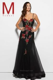 Feel enchanting with the Spring 2016 Mac Duggal Prom Dress Collections.   Floral/Black Prom Dress  Style 20022M