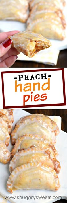 Shugary Sweets Easy Baked Peach Hand Pies Recipe and Video Dessert is ready in 30 minutes with these Glazed Peach Hand Pies! The flaky crust and spicy cinnamon filling are the perfect combo in a hand pie, plus they're baked not fried! Pie Dessert, Dessert Recipes, Recipes Dinner, Baked Peach, Fried Pies, Shugary Sweets, Empanadas, Mini Desserts, Plated Desserts