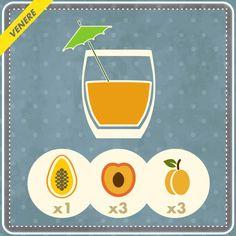 1 mango e 3 pesche senza buccia, 3 albicocche: un mix di energia e vitamine da centrifugare tutte insieme e bere subito per una colazione perfetta e senza grassi.