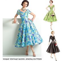 VOGUE VTG 50's RETRO SEWING PATTERN PIN UP ROCKABILLY PARTY DRESS PLUS SIZE 6-16